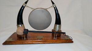Dinner gong, cheque protector, leather flasks, dinner gong, mask