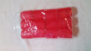 """Set of 12 - 2"""" Red Velcro Hair Rollers"""