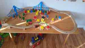 Wooden train set and wooden table