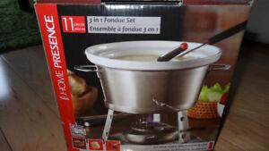 Ensemble à fondue/Tasses/Support à essui-tout