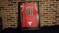 Dennis Rodman Signed Adidas Red Chicago Bulls JERSEY &PhotoGraph