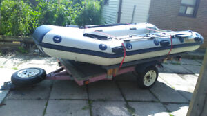 Inflatable boat and trailer