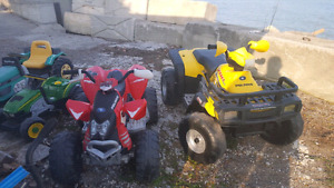 2 USED POLARIS 12 VOLT KIDS RIDE ON 4 WHEEL ATV TOY+ BATTERIES