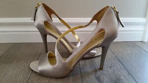 Nine West silver satin high heel shoes, designer wedding shoes