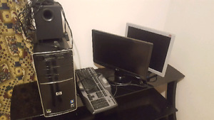 HP COMPUTER OR USE FOR PARTS! + 2 MONITORS!