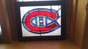 Hand Made Stained Glass Canadiens Logo