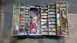 large fishing tackle box full of misc tackle tools and gear