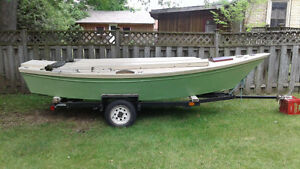 15 ft low power wood and fiberglass skiff