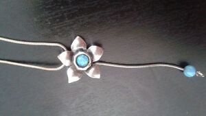 Blue opal flower necklace