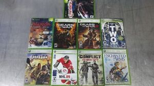 9 USED XBOX 360 GAMES: GEARS OF WAR 1 & 2, NHL 2009, ETC...