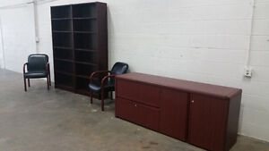 Matching Credenza, Bookshelves and Chairs Edmonton Edmonton Area image 1