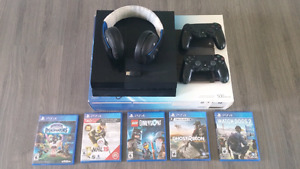 PS4, 5 games, 2TB, wireless headset