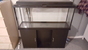 55Gal AQUARIUM ~ WOOD CABINET, HEATER, WATER FILTER INCLUDED