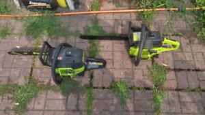 Two Poulan chainsaws