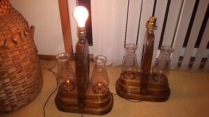 SET of UNIQUE WOODEN LAMPS, FAUX OIL LAMP /LANTERN