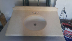 Marble vanity top with sink with dark cherry skirt