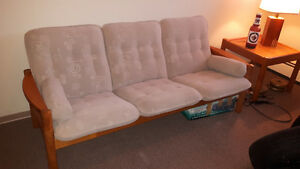 DANISH MODERN TEAK SOFA & END TABLE