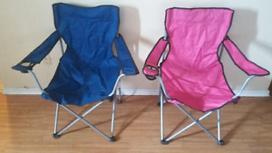 Two folding camping chairs w/ drink holder
