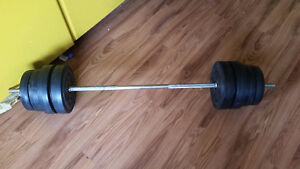116 lbs vinyl weights + barbell $100 OR Best Offer
