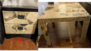 """Customized """"newspaper"""" kit of 2 nightstands with drawers"""