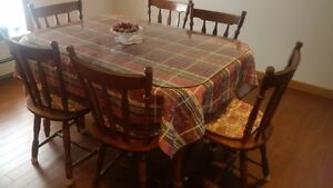 Dining room Wooden table/6chairs/glass top