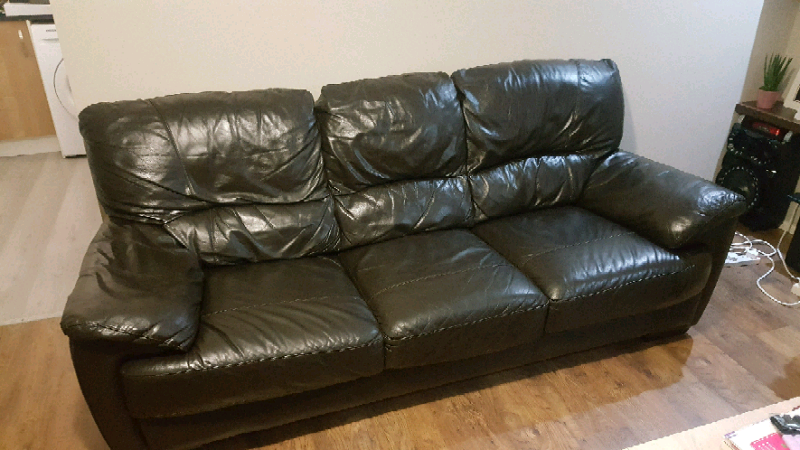 DFS 3 seater leather sofa set with 2 chairs.Open to offers ...