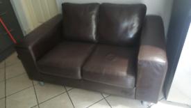 2 seater chocolate brown sofa
