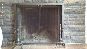 Fireplace frame and screen