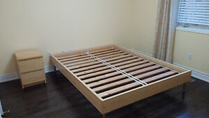 Queen size bed frame with bed base