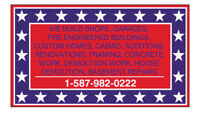 GENERAL CONTRACTING, CUSTOM HOMES, SHOPS, GARAGES, CONCRETE WORK