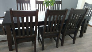 Solid Amish wormy maple table and chairs