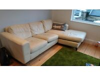 L-Shaped Corner Sofa | Cream | Leather Faux