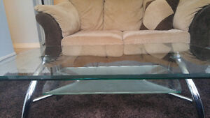 Two Tier Glass Coffee+End Table w/ Stainless Steel Frame
