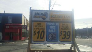 $10.00 per Tire Install plus Balance, New Tires and Oil change
