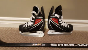 Youth Hockey Skates and Hockey Stick