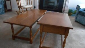 Two Rock Maple end tables with coffee table