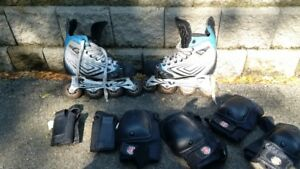 kids roller blades and protective gear