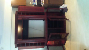 Cherry stained oak tv stand