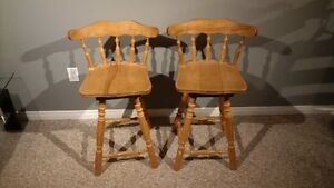 Solid wood swivel stools and regular stools Kitchener / Waterloo Kitchener Area image 1