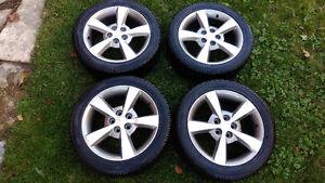 Snow tires 215/50/17 & 17x7 alloy wheels 5x110 pcd +38 offset Kitchener / Waterloo Kitchener Area image 1