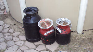 Antique metal milk jugs cannisters. All 3 for $50 Paint decorate