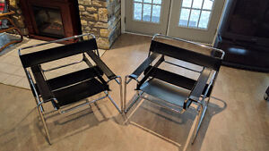 Two Wassily Style Chrome and Leather Chairs asking $599 OBO