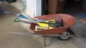 Wheel Barrow and Assorted Garden Tools