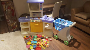 PLAY KITCHEN AND SHOPPING CART