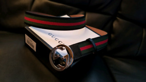 GUCCI CLASSIC WEB BELT CEINTURE BRAND NEW IN BOX AUTHENTIC