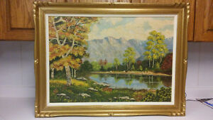 Antique Canadian landscape with cattle oil painting