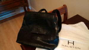 NEW .. Black leather backpack .. by  Halston from the Bay
