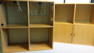 2 Shelving units - lit glass doors & shelves