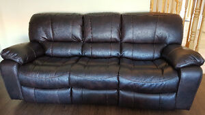 Leons Leather Power Reclining Sofa and Love seat set