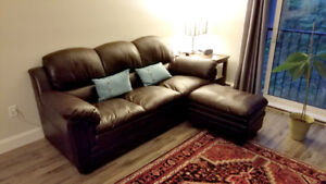 Brown Leather Couch With Matching Ottoman